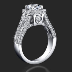 1.65 ctw. Baguette and Round Halo Style Diamond Engagement Ring - bbr388-1