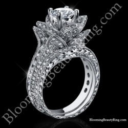 1.67 ctw. Small Hand Engraved Blooming Beauty Engagement Ring Set