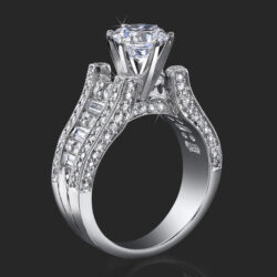 1.75 ctw. 6 prong Tiffany Style Baguette and Round Engagement Ring - bbr304