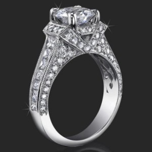 Fit for a Queen Engagement Ring Showcasing Nearly 2 Carats of Scintillating Princess and Round Diamonds – bbr290