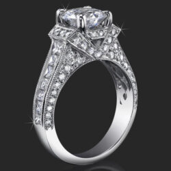 1.83 ctw. 4 Prong Princess and Round Millegrain Engagement Ring - bbr290