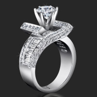 Double Crossover Ribbon Style Crystal Clear Baguette and Round Diamond Engagement Ring