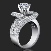 Double Crossover Ribbon Style Baguette and Round Diamond Engagement Ring