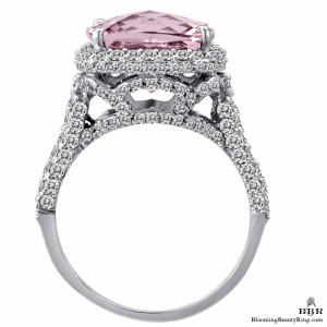 18k White Gold Kunzite and Diamond Double Halo Ring – jtr175