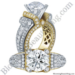 2.85ct. Two Toned Scrolling Tiffany Round Diamond Engagement Ring with your choice of Rose, White or Yellow Gold