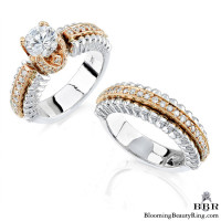 .75 ctw. Two Toned White and Rose Gold Unique Diamond Engagement Ring Set – nrd232-3