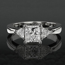 3 stone Beveled Ridge Trillion Cut Diamond Engagement Ring
