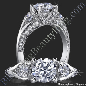 3 Stone Ring Uniquely Designed U Shaped Prongs – bbr368