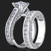 Jewelers Impressive Princess Cut Engagement Rings with Well Over 3 Carats of Diamonds (3.68 ctw)