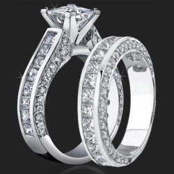 3.68 ctw. Channel Set Princess Micro Pave Round Engagement Ring Set - bbr411-411b