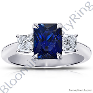 3.77 ctw. Radiant Cut Blue Sapphire Ring with Radiant Side Diamonds – rcc20664