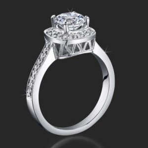 Just Her Style Round Halo Ring Micropave Diamonds Mill Grain Edges – bbr420