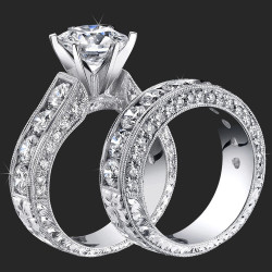 4.10 ctw. Round Diamond Millegrain Engraved 6 Prong Diamond Engagement Ring Set - bbr389set