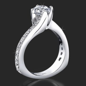 European Round Spiral Style Band With a Curved Twist Engagement Ring – bbr447