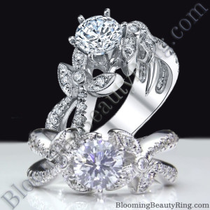Lotus Leafy Split Shank Diamond Flower Engagement Ring – bbr548