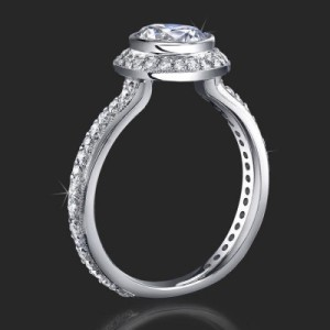 Affordable Halo Engagement Ring with Bezel Set Diamond and Not Too Thin Band – bbr760