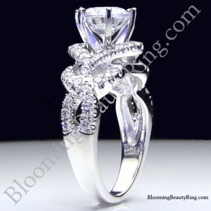 6 Prong Beautiful Crossover Pave Set Designer Engagement Ring – bbr595