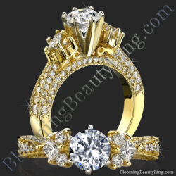 6 Prong Multi Shaped Graduated Diamond Pave Engagement Ring - bbr234