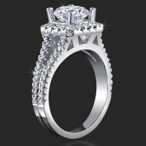 Round Diamond Square Halo Split Band Ring With Medium Thickness – bbr502