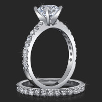 Jewelers Delicate French Cut Pave Engagement Rings with Medium Thick Bands