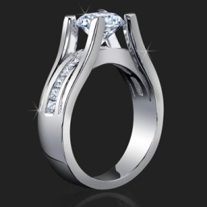 Wide Band Floating Diamond Tension Mounted for Maximum Sparkle with Invisible Channel Set Princess Cut – bbr159