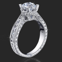 .70 ctw. Engraved Diamond Engagement Ring with Millegrain Detailing Setting