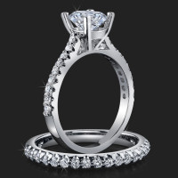 Jewelers Handmade Petite Common Prong Pave Set Brilliant Diamond Engagement Rings