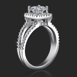.75 ctw. 62 diamond Halo and Split Shank Pave Set Engagement Ring - bbr423