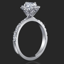 .75 ctw. Petite Pave Set Diamond Flower Engagement Ring - bbr2531