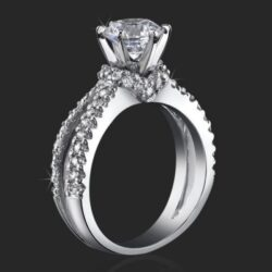 Embracing V Scarf Split Shank Diamond Engagement Ring