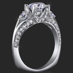 .80 ctw. Channel Set w/ Fancy U Shaped Diamond Prong Engagement Ring - bbr368