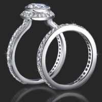 Jewelers Affordably Priced Round Bezel Set Halo Engagement Rings with Pave Set Diamonds
