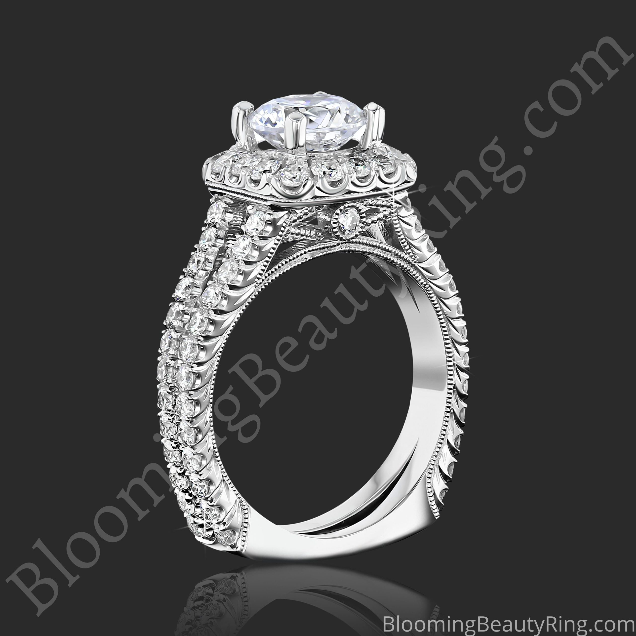 Breathtaking 1.60 ctw Halo Diamond Engagement Ring Handmade In The USA To Perfection bbr733