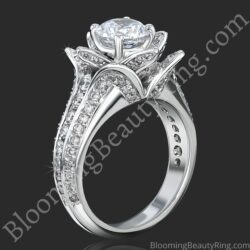 1.37 ctw. Small Blooming Beauty Lotus / Rose Flower Engagement Ring