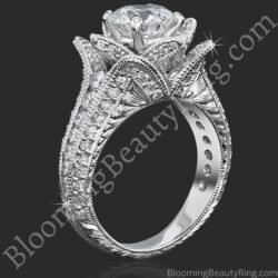 Small Hand Engraved Blooming Beauty Rose Engagement Ring
