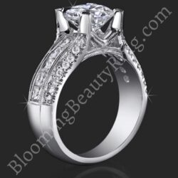 1.00 ctw. Princess Channel and Round Pave Set Diamond Engagement Ring - bbr161