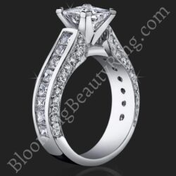 1.75 ctw. Channel Set Princess Micro Pave Round Engagement Ring - bbr411