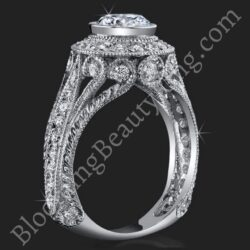 .92 ctw. Engraved Filigree and Bezel Prong Diamond Engagement Ring - bbr286