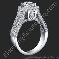 Baguette and Round Halo Style Diamond Engagement Ring with Large Peekaboo Side Diamonds