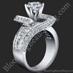 1.85 ctw. Double Seven Round and Baguette Engagement Ring - bbr4549