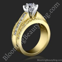 3 Band Round Pave and Channel Set Princess Diamond Engagement Ring - bbr4356