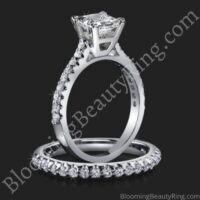 Jewelers Solitaire Princess Diamond Engagement Ring with Matching Wedding Ring