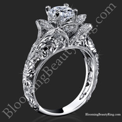 diamond embossed blooming rose engagement ring with etched carvings - Rose Wedding Rings