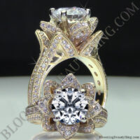Yellow Gold Large Hand Engraved Blooming Beauty Flower Diamond Engagement Ring<br>$4600
