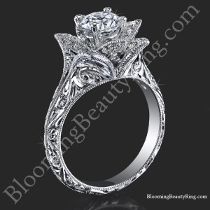 Hand Engraved 8 Petal .58 ct. Diamond Lotus Flower Ring – bbr588-2