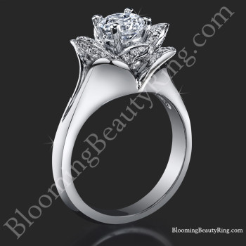 Lotus Ring 8 Petal .58 ct. Diamond Clean Split Shank Flower Ring