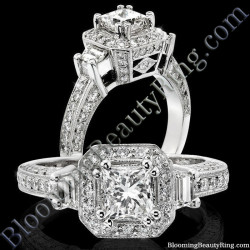 Octagonal Past Present Future 8 Pronged Halo Engagement Ring
