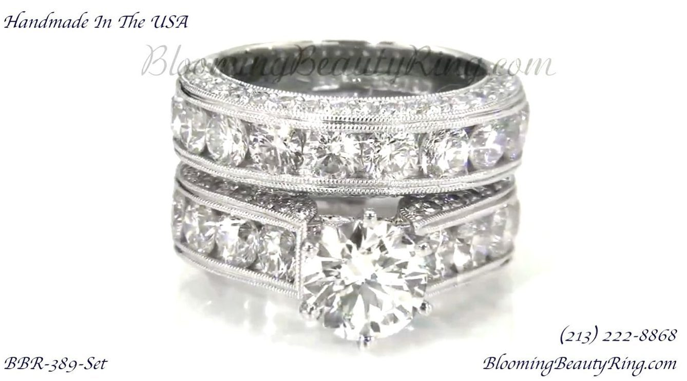 Spectacular 4 20 Ctw Top Quality Round Diamond Engagement Ring Set Bbr389set Unique Engagement Rings For Women By Blooming Beauty Jewelry