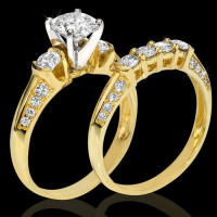 Knife Edge Round Diamond Matching Engagement and Wedding Ring Set