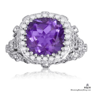 5.75 ctw. Antique Scroll Designed Purple Amethyst and Diamond Gemstone Ring – jtr193